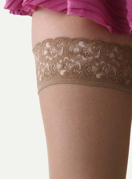 7947a14ef5 Stay fit micro NET dark beige thigh length stockings garters unnecessary,  thighs in PITA I and fastened with Silicon lace white stockings!