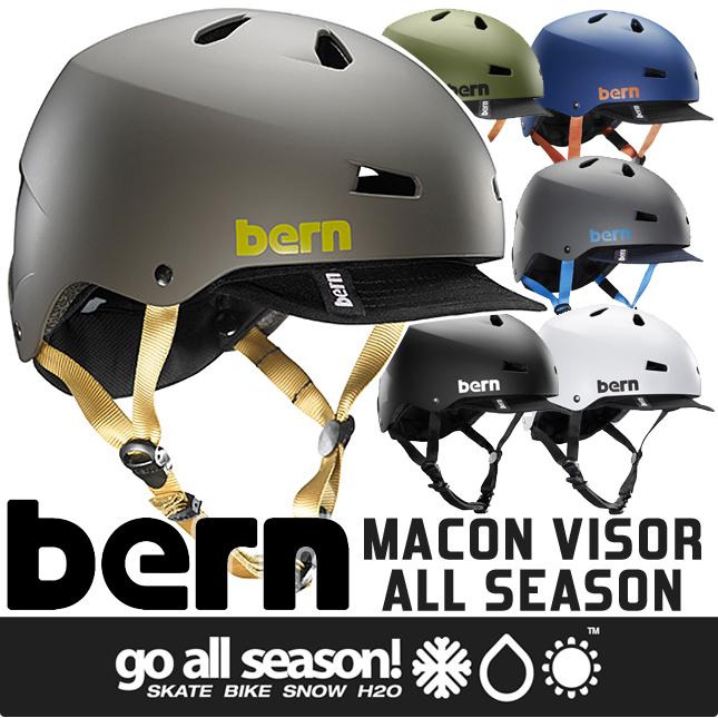 【bern バーン】MACON VISOR ALL SEASON : メーコン バイザー ヘルメット(大人用)(自転車、クロスバイク、マウンテンバイク、BMX、スケートボード、スポーツ)