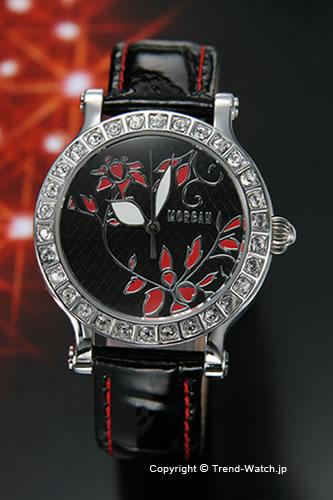 モルガンMORGAN腕時計 フラワーモチーフ ラインストーンレディースウォッチ ブラック レッドMG058 2 モルrCWEQBodex