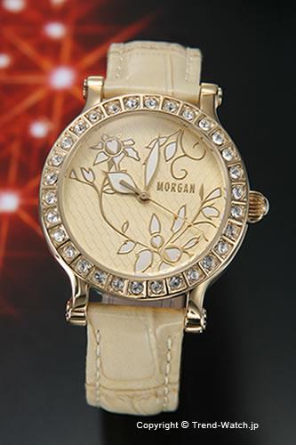 モルガン 【MORGAN】 腕時計 フラワーモチーフ ラインストーンレディースウォッチ GP アイボリー/ベージュレザー MG058-3【モルガン 時計】