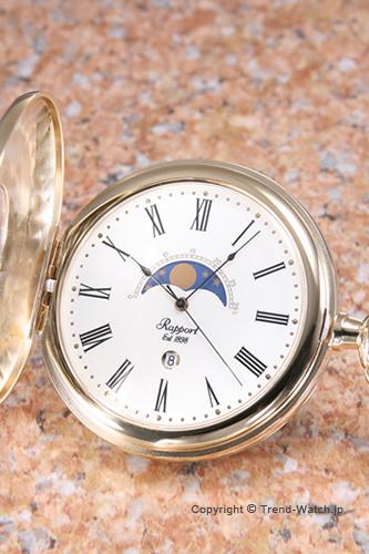 ラポート 懐中時計 RAPPORTポケットウォッチムーンフェイズ GP ホワイト PW80 ラポート 時計rxdtshCQ