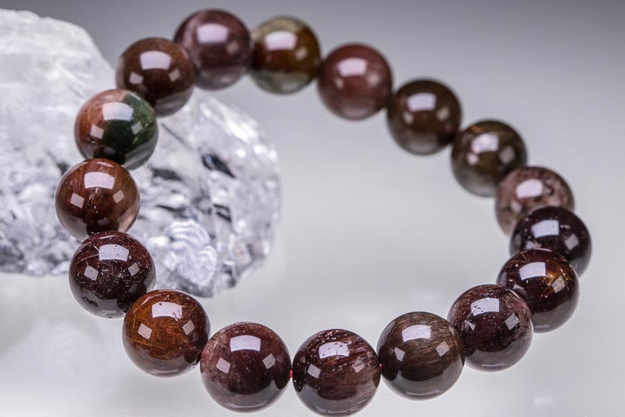 ブロンズルチルクォーツ 粒径12mm ルチルクォーツ ルチレイテッドクォーツ ブロンズゴールドルチル ブレスレット 天然石 原石