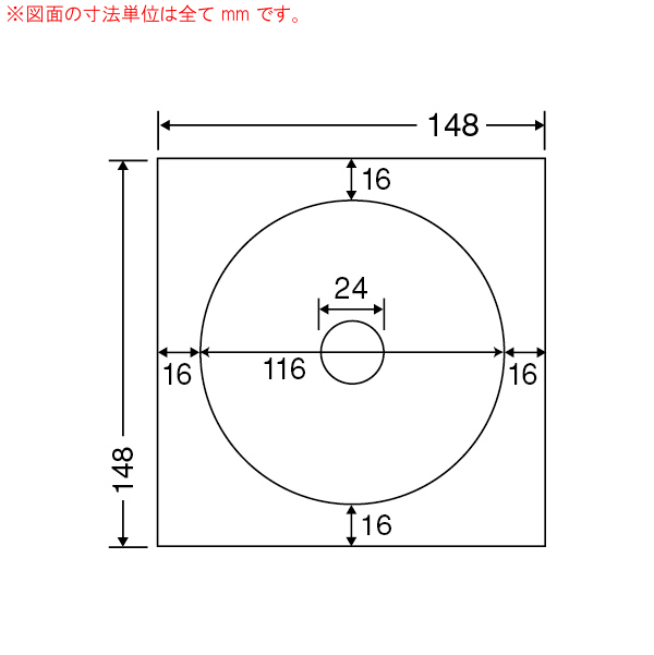 SCJR-3-1 OAラベル CD-R、DVD-R専用ラベル (116×116×中央穴24mm 1面付け 148×148判) 1梱(CD-DVD用、カラーインクジェットプリンタ用光沢ラベル.フォトカラー対応)