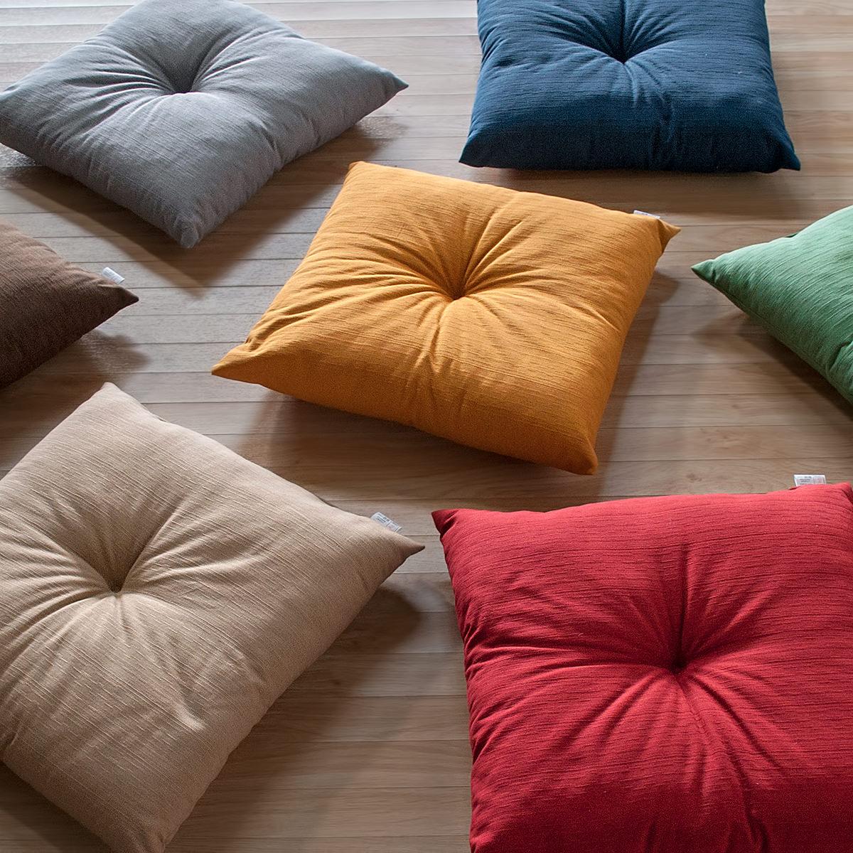 紬(つむぎ)風なので和室にぴったり 豊富な7色のカラー展開 クッション 椅子 45×45 シートクッション 本体 コットンツムギ 和室 和風 和調 紬調 綿100% 素縫い ひもなし 両面共生地 1点どめ ポリエステルわた ダイニングチェアーの座面クッションやベンチクッションとして 日本製
