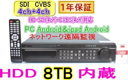 【SA-51450】HD-SDI(4CH)+CVBS(4CH)対応 8ch H264ネットワーク機能付DVR録画機(HDD8TBタイプ)