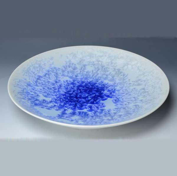 【 送料無料 】 京焼 清水焼 京 焼き 京焼き 尺皿 花結晶(白青) はなけっしょう しろあお
