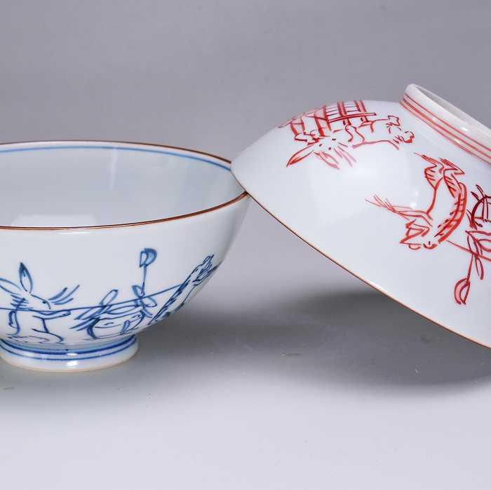 【 送料無料 】 京焼 清水焼 京 焼き 京焼き 夫婦茶碗 組飯碗 2客セット 紙箱入り 染赤絵巻 そめあかえまき