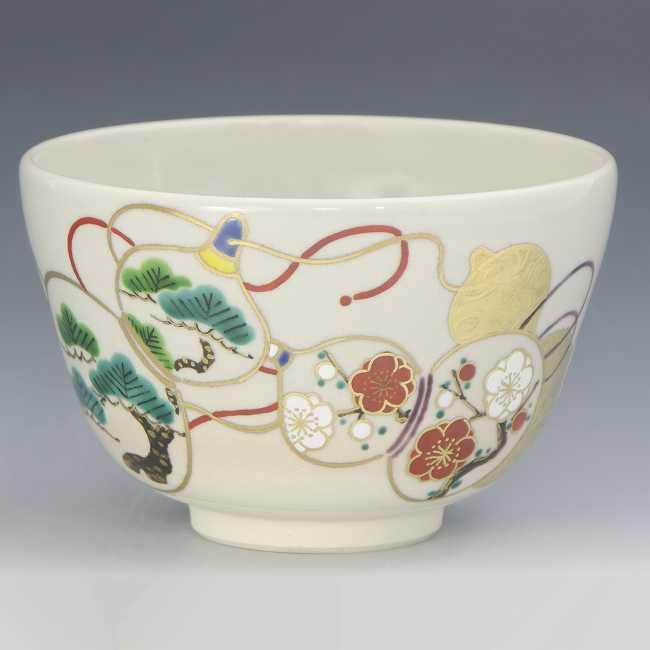 【 送料無料 】 京焼 清水焼 京 焼き 京焼き 茶道具 抹茶碗 1客 木箱入り 金彩六瓢 きんさいむびょう