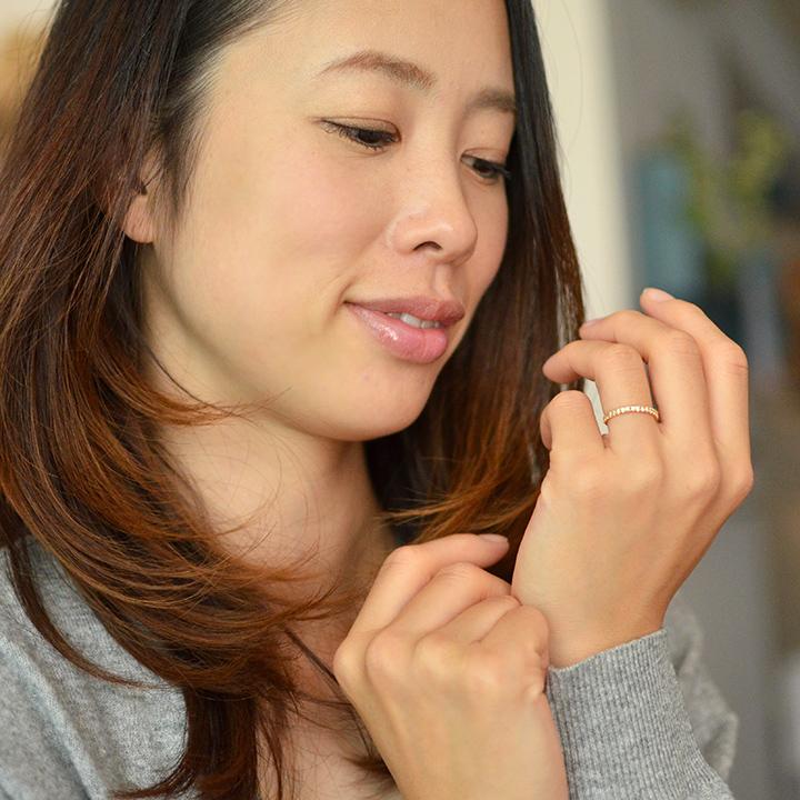 K18 ダイヤモンド0.27ct エタニティ リング 指輪 ゴールド 18K 18金 エタニティーリング ダイアモンド 誕生日 4月誕生石 刻印 文字入れ メッセージ ギフト 贈り物 ピンキーリング対応可能