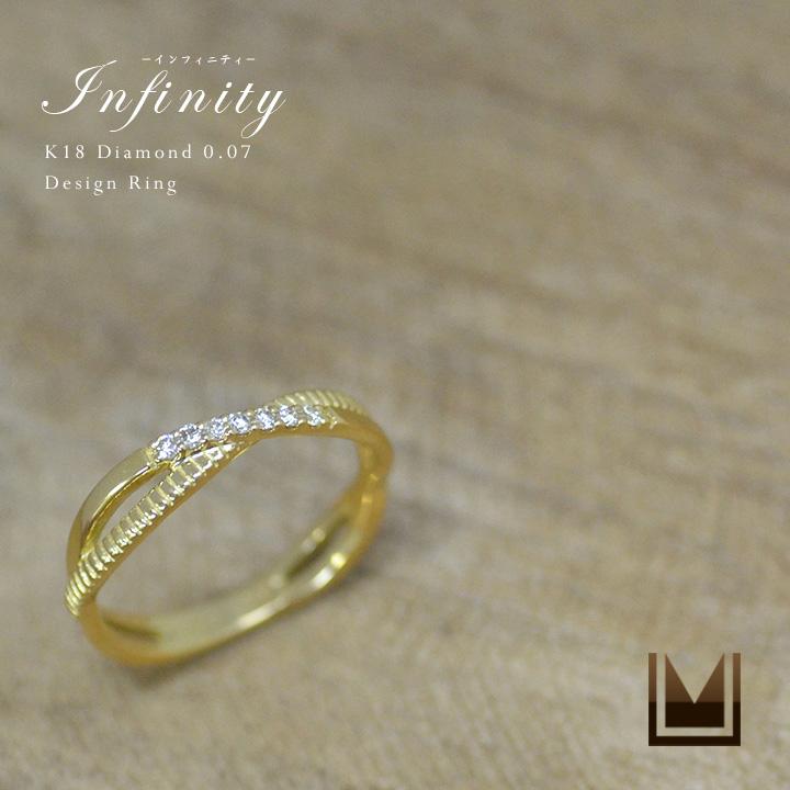 【GWクーポン配布中】K18 ダイヤモンド0.07ct デザイン リング「Infinity」ピンキーリング 送料無料 指輪 ダイアモンド ファランジ 18K 18金 ゴールド ピンクゴールド ホワイトゴールド 4月誕生石 誕生日 刻印 文字入れ