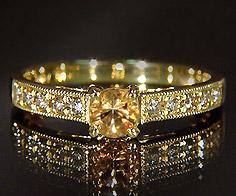 K18 インペリアルトパーズ ダイヤモンド リング 「fiorito」送料無料 指輪 ゴールド 18K 18金 誕生日 11月誕生石 ミル打ち 刻印 文字入れ メッセージ ギフト 贈り物 ピンキーリング対応可能