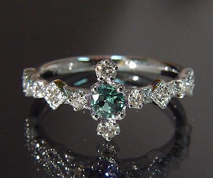 【GWクーポン配布中】K18 アレキサンドライト ダイヤモンド リング 「siena」送料無料 指輪 ダイアモンド ゴールド 18K 18金 ミル打ち 刻印 文字入れ メッセージ ギフト 贈り物 ピンキーリング対応可能
