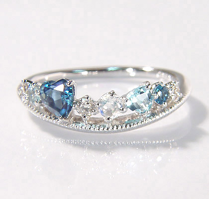 K18 ブルーカクテル ダイヤモンド リング 「felice」 指輪 ダイアモンド ゴールド 18K 18金 ロンドンブルートパーズ アクアマリン ブルームーンストーン ハート ミル打ち 刻印 文字入れ 贈り物 ピンキーリング