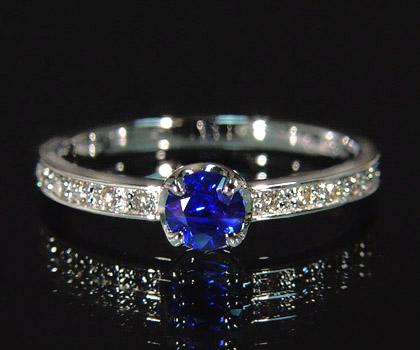 K18 ブルーサファイア ダイヤモンド リング 「polarita」 指輪 サファイヤ ダイアモンド ゴールド 18K 18金 誕生日 9月誕生石 刻印 文字入れ メッセージ ギフト 贈り物 ピンキーリング対応可能