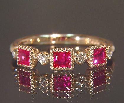K18 ルビー ダイヤモンド リング 「altero」送料無料 指輪 ダイアモンド ゴールド 18K 18金 ミル打ち 誕生日 7月誕生石 刻印 文字入れ メッセージ ギフト 贈り物 ピンキーリング対応可能