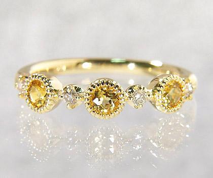 【GWクーポン配布中】K18 イエローベリル ダイヤモンド リング 「margherita」送料無料 指輪 ダイアモンド ゴールド 18K 18金 ミル打ち 刻印 文字入れ メッセージ ギフト 贈り物 ピンキーリング対応可能