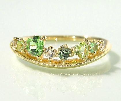 K18 グリーンカクテル ダイヤモンド リング 「felice」送料無料 指輪 ダイアモンド ゴールド 18K 18金 グリーンガーネット グリーンサファイア ペリドット ハート ミル打ち 刻印 文字入れ 贈り物 ピンキーリング