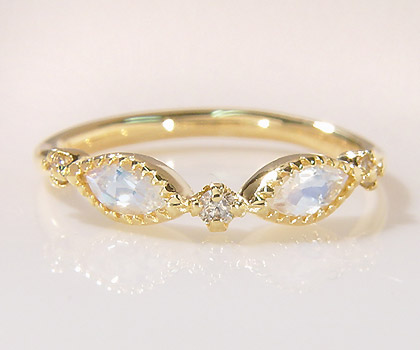 K18 ブルームーンストーン ダイヤモンド リング 「aliare」送料無料 指輪 ダイアモンド ゴールド 18K 18金 誕生日 6月誕生石 刻印 文字入れ メッセージ ギフト 贈り物 ピンキーリング対応可能
