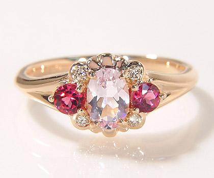 K18 モルガナイト ルベライト ダイヤモンド リング 「magia」 指輪 ゴールド ピンクトルマリン ダイアモンド 18K 18金 誕生日 10月誕生石 刻印 文字入れ メッセージ ギフト 贈り物 ピンキーリング対応可能