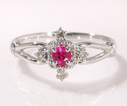 K18 ルビー ダイヤモンド リング 「portagioie」 指輪 ダイアモンド ゴールド 18K 18金 誕生日 7月誕生石 刻印 文字入れ メッセージ ギフト 贈り物 ピンキーリング対応可能