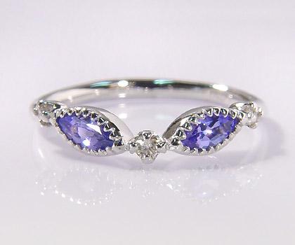 K18 タンザナイト ダイヤモンド リング 「aliare」 指輪 ブルーゾイサイト ダイアモンド ゴールド 18K 18金 誕生日 12月誕生石 刻印 文字入れ メッセージ ギフト 贈り物 ピンキーリング対応可能