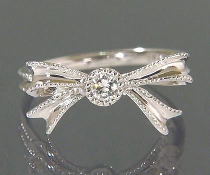 【GWクーポン配布中】K18 ダイヤモンド リング 「legame」送料無料 指輪 ダイアモンド リボンモチーフ 大人 可愛い ミルグレーン 18K 18金 ゴールド 誕生日 4月誕生石 記念日 刻印 文字入れ メッセージ ギフト 贈り物 ピンキーリング対応可能