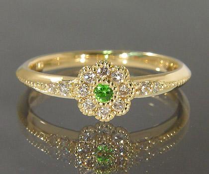 K18 デマントイドガーネット ダイヤモンド リング 「giorgina」 指輪 ダイアモンド ゴールド 18K 18金 ミル打ち フラワー 花 誕生日 1月誕生石 刻印 文字入れ メッセージ ギフト 贈り物 ピンキーリング対応可能
