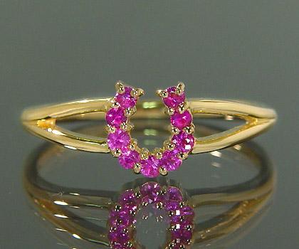 K18 ピンクサファイア リング 「fortuna」 指輪 サファイヤ ゴールド 18K 18金 馬蹄 ホースシュー 誕生日 9月誕生石 刻印 文字入れ メッセージ ギフト 贈り物 ピンキーリング対応可能