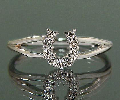 K18 ダイヤモンド リング 「fortuna」 指輪 ダイアモンド ゴールド 18K 18金 馬蹄 ホースシュー 誕生日 4月誕生石 刻印 文字入れ メッセージ ギフト 贈り物 ピンキーリング対応可能