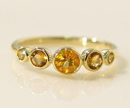 K18 シトリン リング 「cerchio」送料無料 指輪 ゴールド 18K 18金 爪なし 覆輪留め 伏せ込み 誕生日 11月誕生石 刻印 文字入れ メッセージ ギフト 贈り物 ピンキーリング対応可能