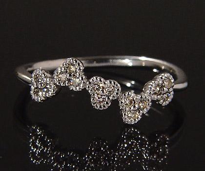 K18 ダイヤモンド リング 「fiorita」送料無料 指輪 ダイアモンド ゴールド 18K 18金 花 フラワー ミル打ち 誕生日 4月誕生石 刻印 文字入れ メッセージ ギフト 贈り物 ピンキーリング対応可能