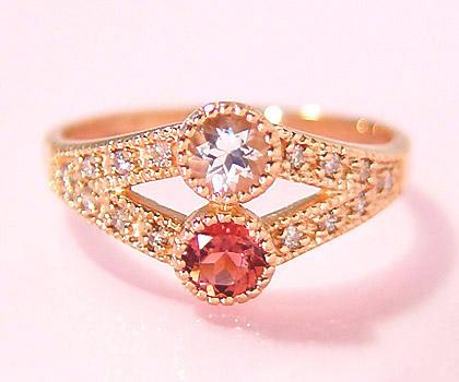 """經過""""時候依然熱鬧起來的…""""K18莫爾蛾騎士×粉紅電氣石鑽石戒指""""ambedue""""白色情人節"""