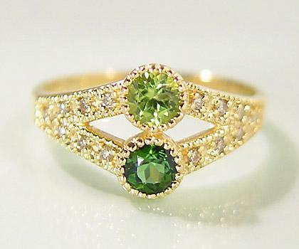 K18 ペリドット グリーントルマリン ダイヤモンド リング 「ambedue」 指輪 ダイアモンド ゴールド 18K 18金 ミル打ち 誕生日 8月誕生石 10月誕生石 刻印 文字入れ メッセージ ギフト 贈り物 ピンキーリング対応可能