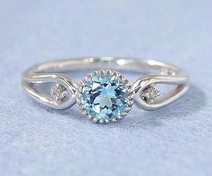 K18 アクアマリン ダイヤモンド リング 「amica」 指輪 アクワマリン ダイアモンド ゴールド 18K 18金 誕生日 3月誕生石 刻印 文字入れ メッセージ ギフト 贈り物 ピンキーリング対応可能