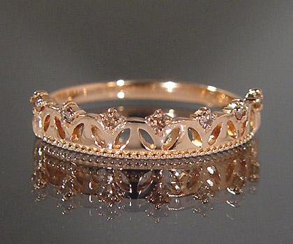 K18 ブラウンダイヤモンド リング 「aiuola」 指輪 ダイアモンド ゴールド 18K 18金 王冠 ティアラ 誕生日 4月誕生石 刻印 文字入れ メッセージ ギフト 贈り物 ピンキーリング対応可能