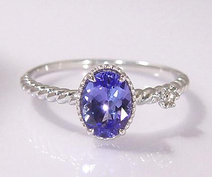 K18 タンザナイト ダイヤモンド リング 「spaiato」 指輪 ブルーゾイサイト 18K 18金 ゴールド カジュアル カラーストーン 12月誕生石 誕生日 文字入れ 刻印 ピンキーリング対応可能 メッセージ ギフト 贈り物