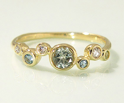 K18 リフレッシングカラーストーン ダイヤモンド リング 「saponata」 指輪 アンブリゴナイト サンタマリアアクアマリン ペリドット ダイアモンド ゴールド 18K 18金 刻印 ギフト 贈り物 ピンキーリング対応可能