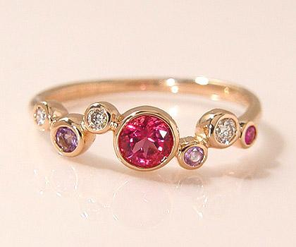 K18 チャーミングカラーストーン ダイヤモンド リング 「saponata」 指輪 ルベライト アメシスト ピンクサファイア ダイアモンド ゴールド 18K 18金 誕生日 10月誕生石 刻印 文字入れ ギフト ピンキーリング対応可能