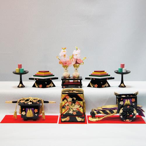 雛人形 ひな人形 おしゃれ かわいい おひなさま お雛様 木製桜衣御所かご・重箱セット30号 インテリア