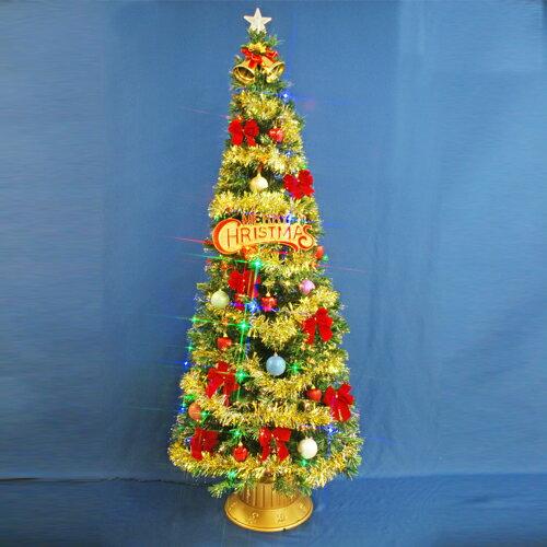 クリスマスツリー 北欧 おしゃれ 210cmファイバーツリーセット12 LED48球付き オーナメント セット LED 2m 3m 大型 業務用 インテリア