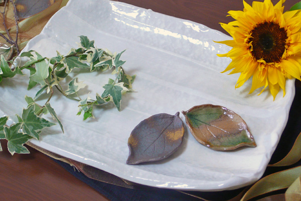 美濃焼 白角大皿&葉っぱの小皿セット