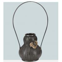 49-04 網代花器 瓢型(木の葉に蛙付)