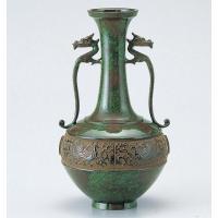 竹中銅器 84-02 銅製花瓶 竜耳瑞鳥