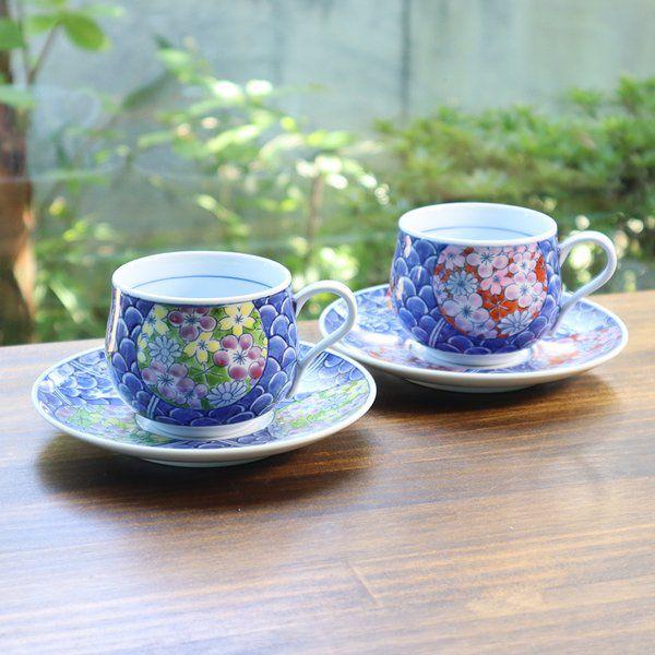 ギフト 敬老の日 発売モデル 母の日 ペアコーヒーカップとしても 送料無料 有田焼 緑 腰丸 コーヒー碗皿 青海波花絵 絶品 赤