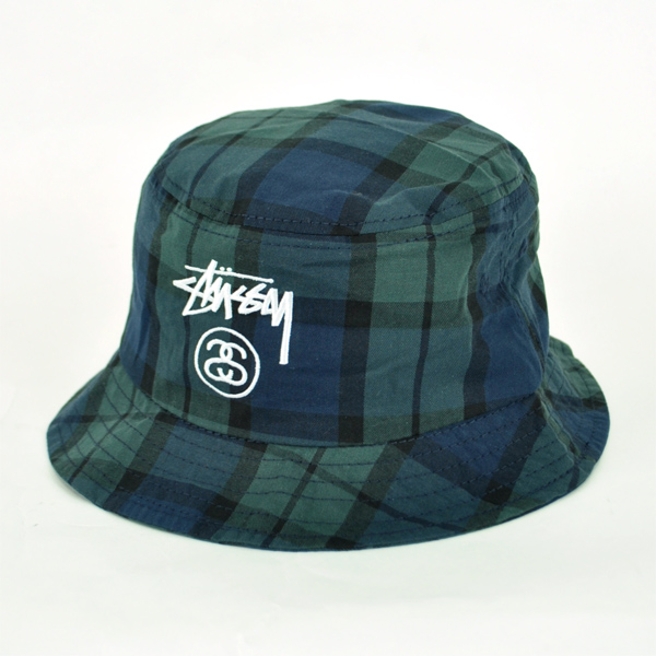 STUSSY (Stussy Hat) Cap 132705 STOCK LOCK PLAID BUET HAT check by bucket hat  logo embroidered bucket Hat SS link logo Black Watch Hat bake Hi Stussy ... d03ff5ba799