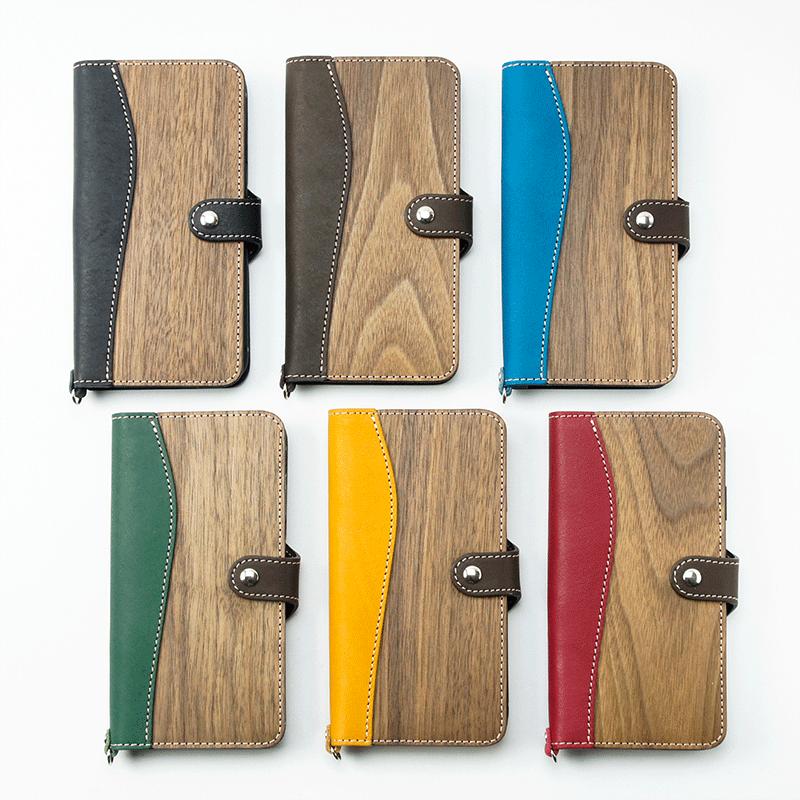 VARCO REAL WOOD iPhoneXS Max ケース カバー 手帳型 木製 日本製 革 本革 ヌメ革 レザー アイフォンケース アイフォンテン スマホケース スマフォケース 天然木 かわいい おしゃれ 送料無料 スマートフォンケース ブランド