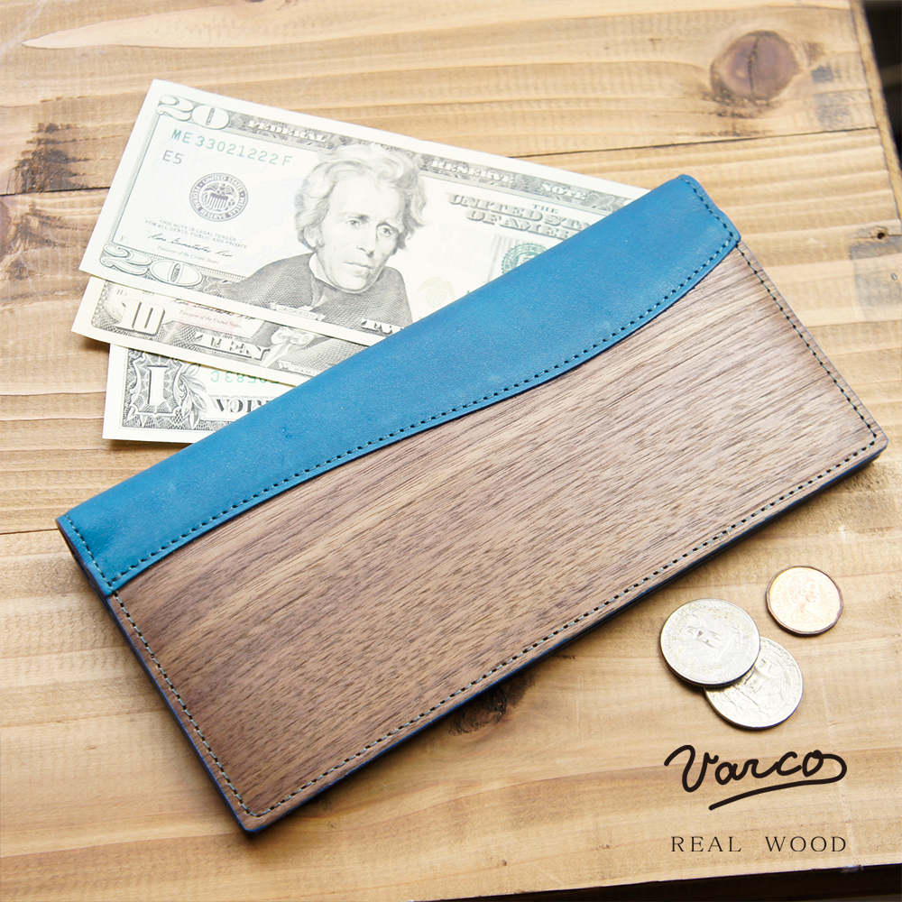 VARCO REAL WOOD ロングビルフォールド 札入れ メンズ レディース 革 本革 ヌメ革 革製 レザー 木 木製 天然木 日本製 和柄 革小物 カードケース ブランド かわいい シンプル ビジネス おしゃれ ヴァーコ