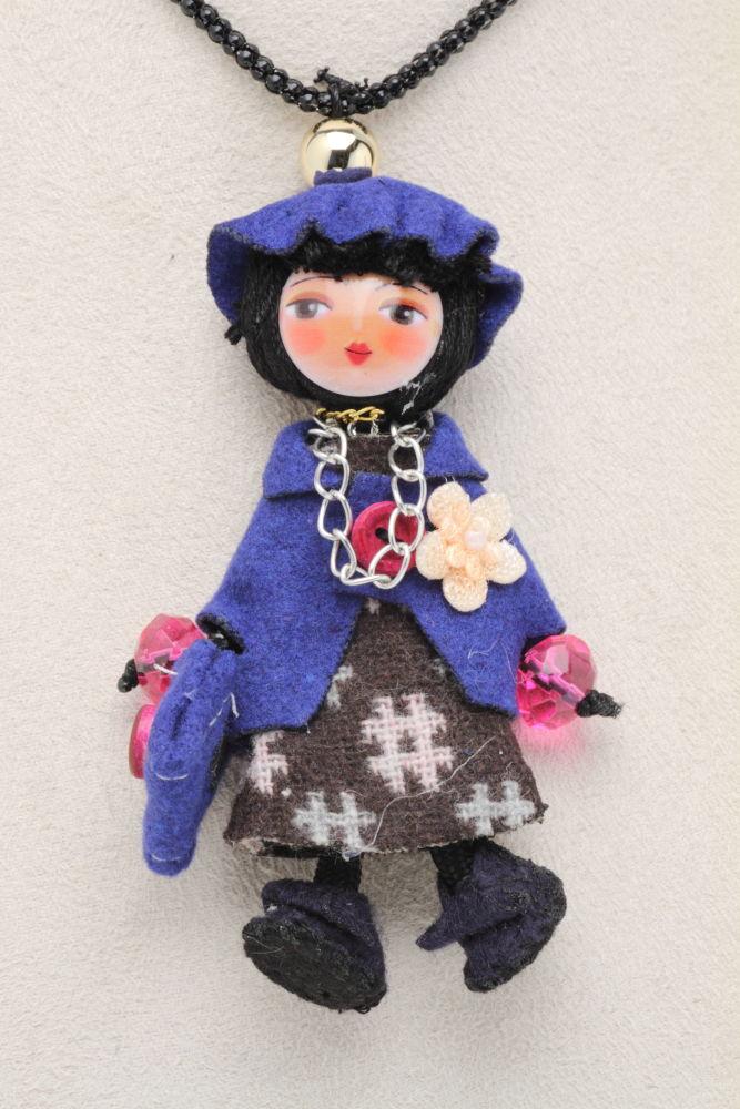 LE BRICIOLE(レ・ブリチオレ) My Favorite dolls パッチワーク コレクションドール AP415 ブルー ネックレスタイプ