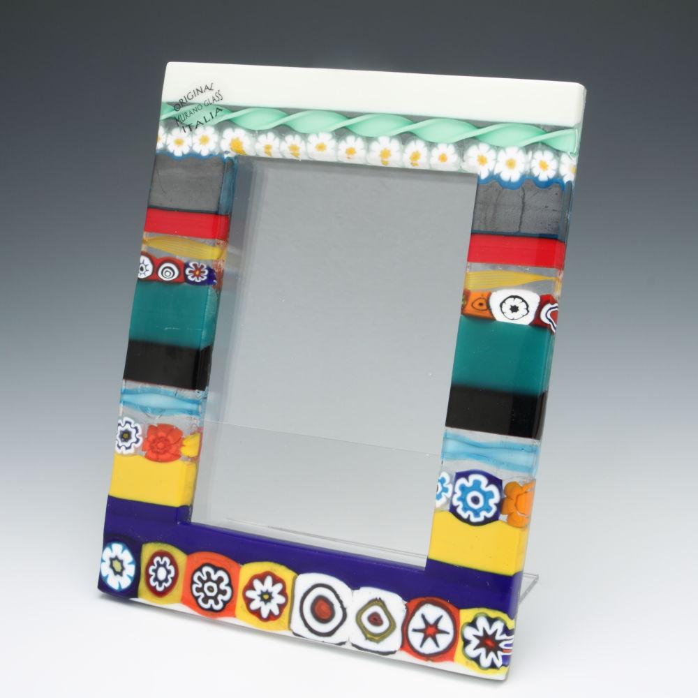 ベネチアンガラス 写真立て(フォトフレーム) ストライプ ベネチアングラス 職人の技をご堪能ください
