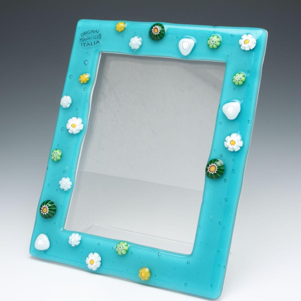 ベネチアンガラス 写真立て(フォトフレーム) ムリーナフラワー青緑 ベネチアングラス 職人の技をご堪能ください